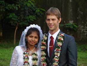 Photo: Susana Digel & David Brown at the wedding reception