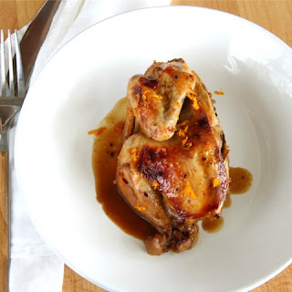 Slow Cooker Cornish Game Hens with Cointreau Orange Sauce.