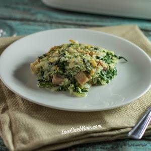Spinach, Cauliflower Rice, & Ham Casserole