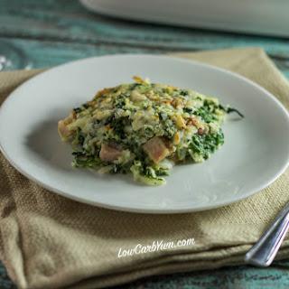 Spinach, Cauliflower Rice, & Ham Casserole.