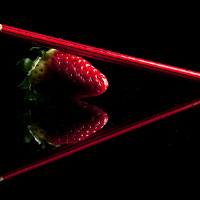 Strawberry Pencil Heart by Sam Mirrado - Food & Drink Fruits & Vegetables ( pencil, fruit, red, heart, strawberry )