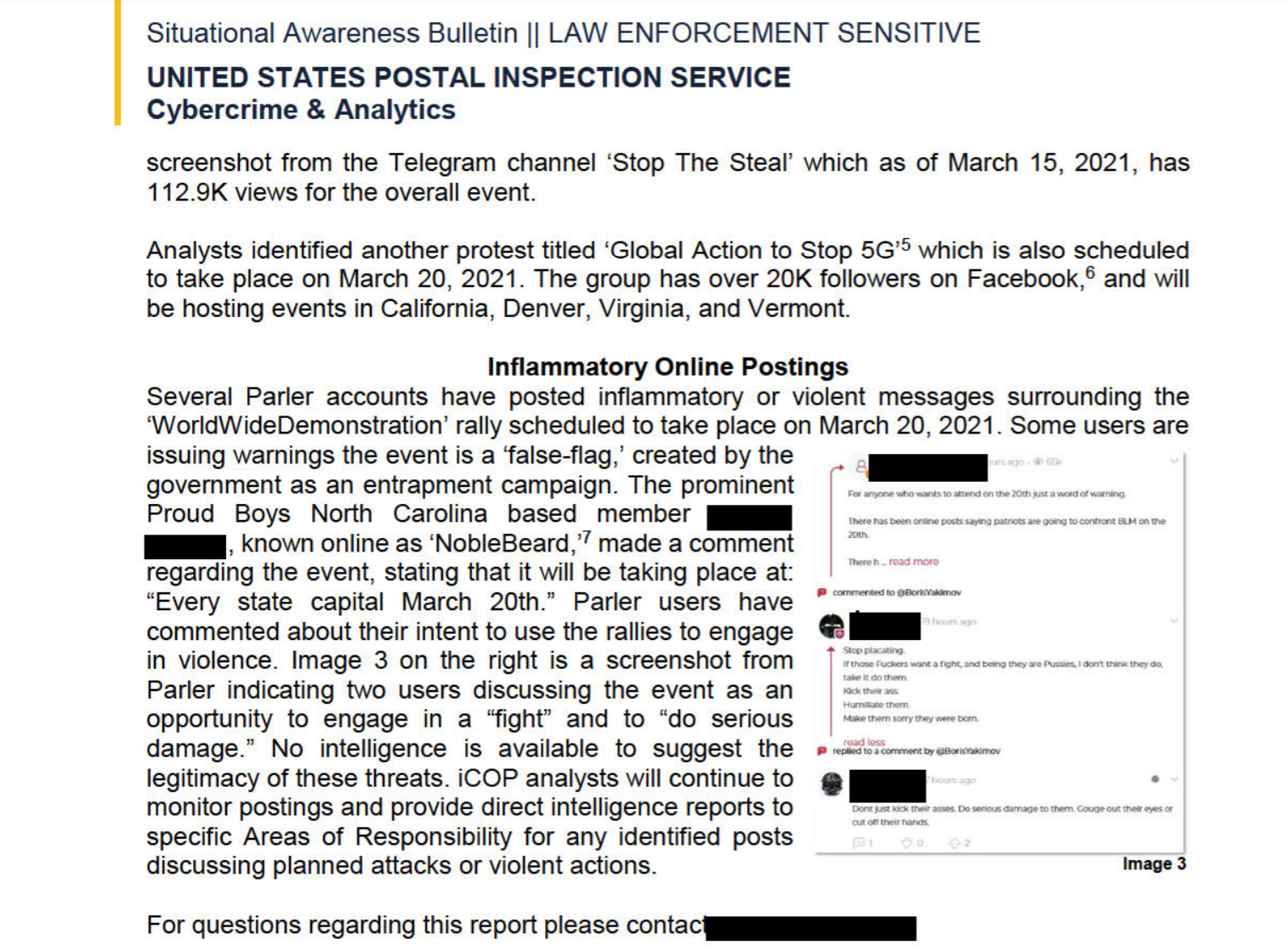 Page 2 of 2 of the United States Postal Intelligence Service's Internet Covert Operations Program Situational Awareness Bulletin claiming right-wing violence was being planned for the March 20 International Day of Protests.