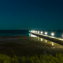 Ardrossen Jetty by Ms Lyons Photography - Buildings & Architecture Bridges & Suspended Structures ( 2017, south australia, night photography, jetty, night shot, moonlight, nightscape, ardrossen )