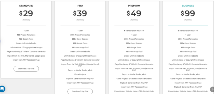 The pricing table is part of the Designrr review