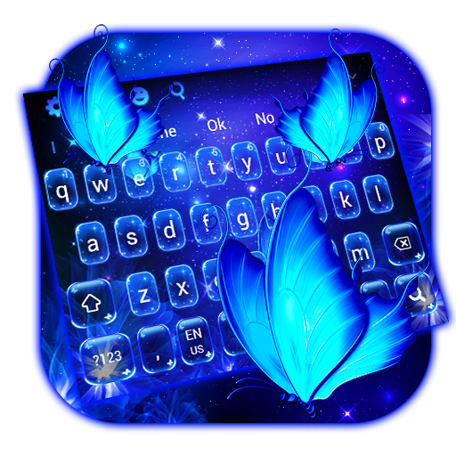 Neon Blue Butterfly Keyboard