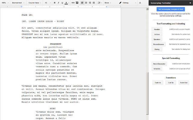 screenplay formatter google docs add on