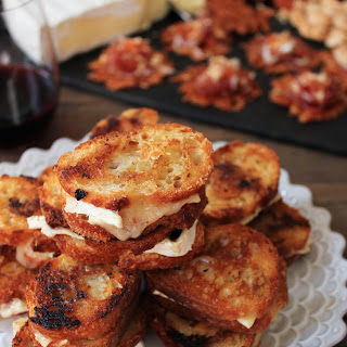 Brie and Candied Bacon Grilled Cheese Bites.