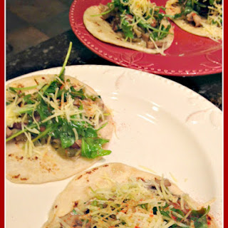 60. Cilantro-Green Chile Mushroom Tacos with Baby Arugula and White Cheddar