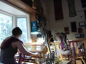 Photo: a student having a all day  zen self directed  weaving day at the studio