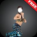 Fairytale girl dress montage icon