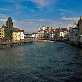by Phil Bear - City,  Street & Park  Vistas ( dam, lucerne, city, switzerland, river )