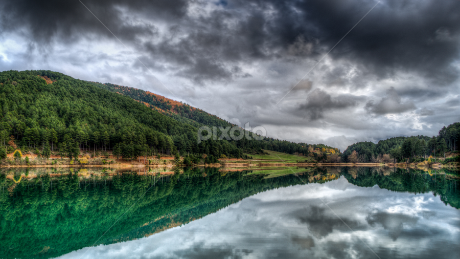 Doxa's Lake Greece by Giorgos Slow - Landscapes Waterscapes ( greece doxa lake reflection clouds landscape waterscape, garyfonglandscapes, holiday photo contest, photocontest )