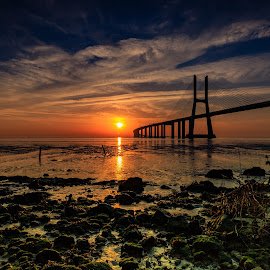 Empty Tide by Abílio Neves - Landscapes Prairies, Meadows & Fields ( sunrise, stones, bridge, clouds, water )