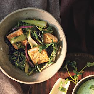 Stir-Fried Bok Choy and Mizuna with Tofu