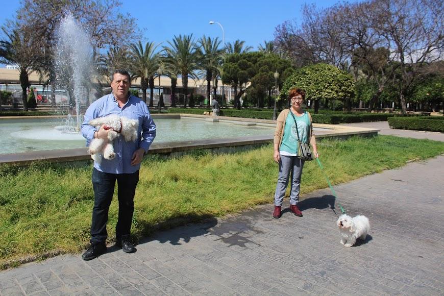 En el Parque Nicolás Salmerón paseando a las mascotas.