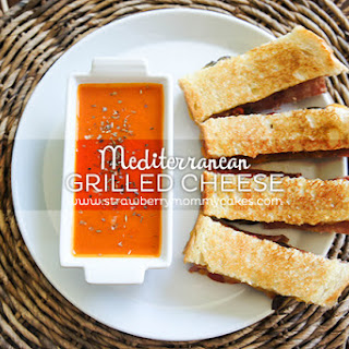 Mediterranean Grilled Cheese Sandwich with Roasted Pepper Tomato Soup.