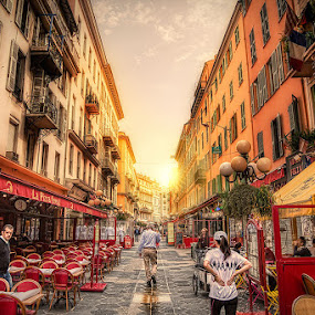 Rue Massena by Tim Pursall - Buildings & Architecture Other Exteriors ( hdr, sunset, street, nice, france, architecture )