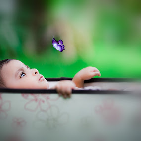 Near nature by Shashi Patel - Babies & Children Babies ( shashiclicks, butterfly, outdoor photography, nature, hyderabad, green, shashi patel, cute, baby boy )