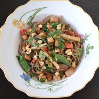 Peanut Soba Noodles with Crispy Baked Tofu and Vegetables.