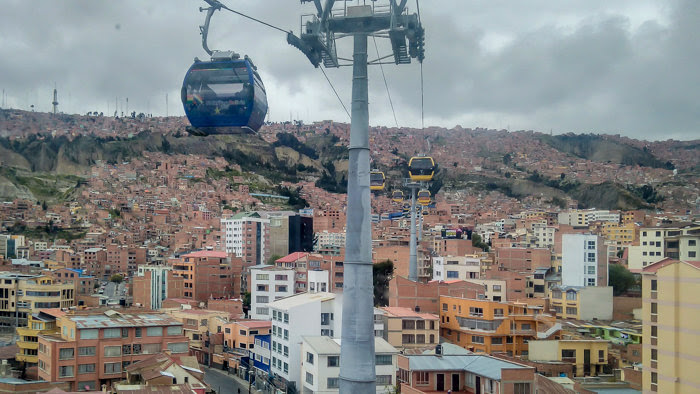 watching the teleféricos go by in la paz while traveling Bolivia