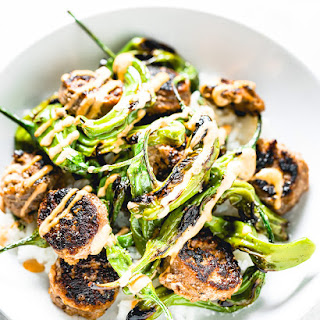 Blistered Shishito Peppers + Sausage and a Creamy Sriracha Sauce Recipe