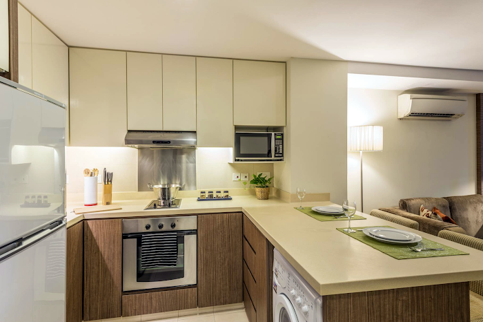 Fully equipped kitchen at River Valley Road Residences, Singapore