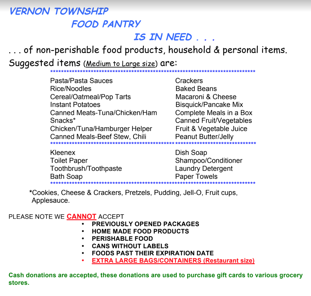 Help the Vernon Township Food Pantry