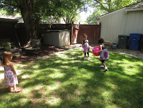 Photo: Girls play ball