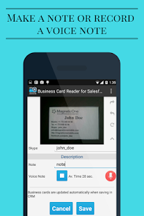 screenshot image - Salesforce Business Card Scanner