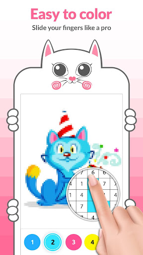 Cat Pixel Art Paint by Numbers - screenshot