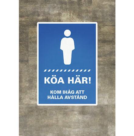 Dekal/skylt, Köa här, A4, 210x297mm