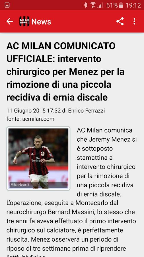 Milan News - screenshot