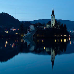 Church of the night by Ales Jenko - Landscapes Travel ( church, nihgt, wather, lake )