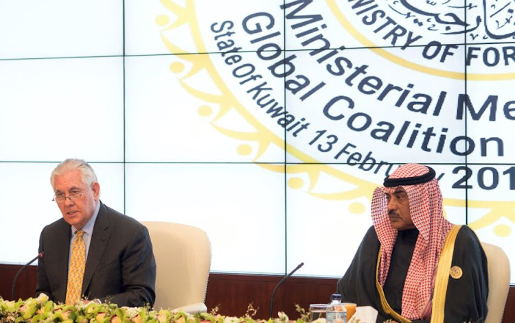 US Secretary of State Rex Tillerson and Kuwait's Minister of Foreign Affairs Sheikh Sabah al Khalid Al Sabah attend a joint news conference, in Bayan, Kuwait February 13, 2018.