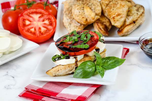 Caprese Chicken Stacker With Reduced Balsamic.