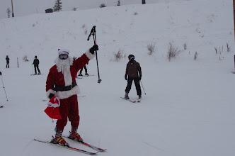 Photo: HO HO HO! Santa heads to First Time lift.