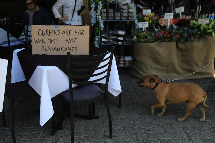 The restaurant industry called for one million seats placed on the streets around South Africa on July 22 2020 to protest lockdown regulations.