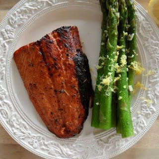Balsamic & Honey Glazed Salmon with Lemony Asparagus