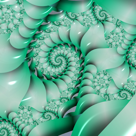Spiral 32 by Cassy 67 - Illustration Abstract & Patterns ( shell, pastel, green, swirl, wallpaper, spiral, digital, modern, pearl, abstract art, digital art, harmony, fractal, fractals )