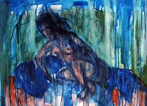 """Photo: She Rests on Pillows in the Grass, 2012, Brenda Clews24"""" x 18"""", 60cm x 45cm, oil paint on 90lb archival paper."""