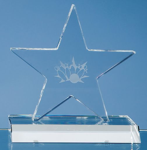 13cm Optical Crystal Star with Base