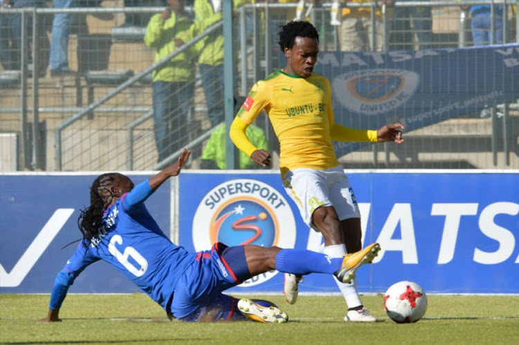 Percy Tau of Sundowns and Reneilwe Letsholonyane of SuperSport during the Absa Premiership match between SuperSport United and Mamelodi Sundowns at Lucas Moripe Stadium on August 19, 2017 in Pretoria, South Africa.