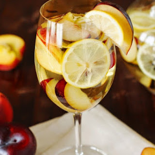 White Sangria with Nectarines, Plums, & Lemons.