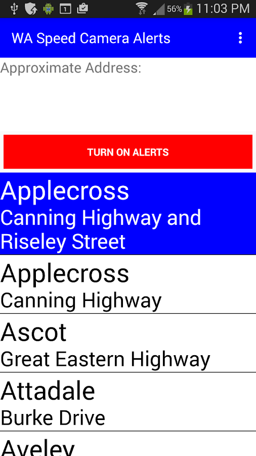 WA Speed Camera Alerts- screenshot