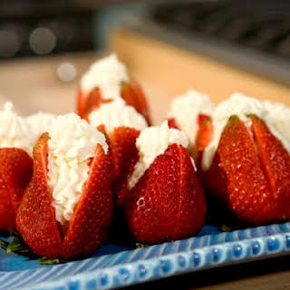 """Strawberries Filled with """"Clotted"""" Cream."""