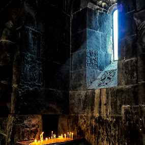 Geghard Monastery  by Amir Kh - Buildings & Architecture Places of Worship ( armenia, kotayk, architecture, worship, historic, candle, geghard, monastery, candles, pray, historical, nikon, light,  )