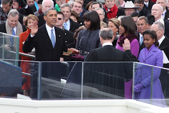 Photo: President Barack Obama being sworn in for his second term.