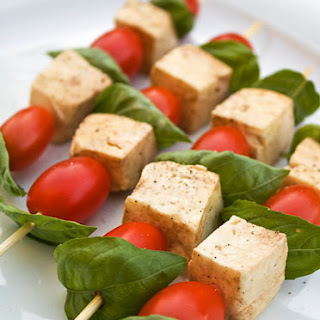 Mozzarella Basil and Tomato Skewers