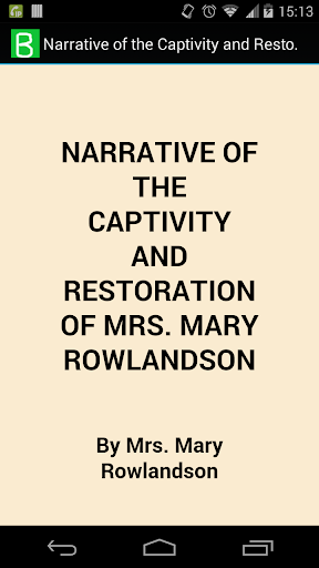Captivity of Mrs. Rowlandson
