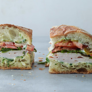 Turkey and Bacon Sandwich with Arugula Mayonnaise.